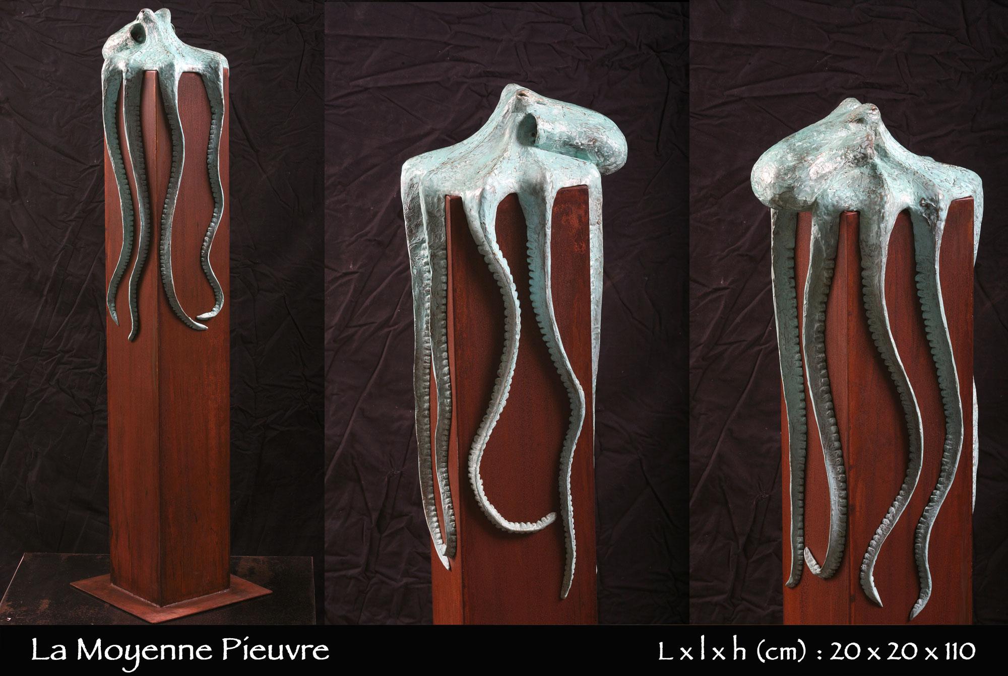 Pieuvre en bronze de taille moyenne sur socle en fer