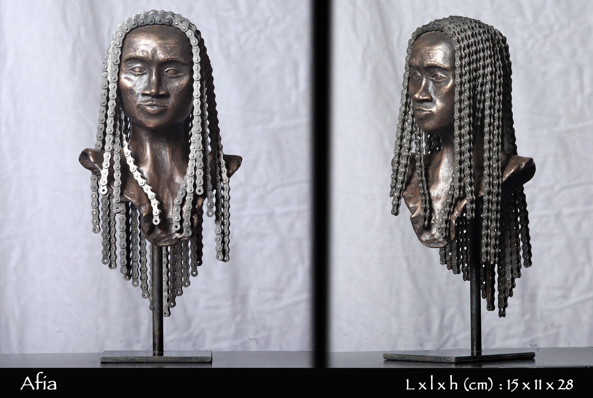 tête africaine avec tresse en chaine