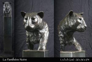 Panthère noire en bronze sur socle en fer