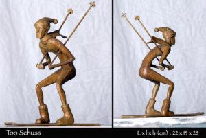 Skieur en bronze